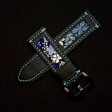 Load image into Gallery viewer, 47Ronin#203 Black calf leather (24mm, Sky blue stitching)