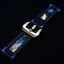 Load image into Gallery viewer, 47Ronin#204 Black calf leather (22mm, Sky blue stitching)