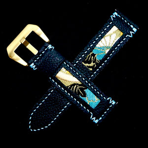 47Ronin#204 Black calf leather (22mm, Sky blue stitching)