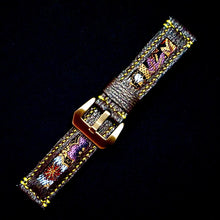 Load image into Gallery viewer, 47Ronin#205 Purple glittering calf leather (22mm, Yellow stitching)