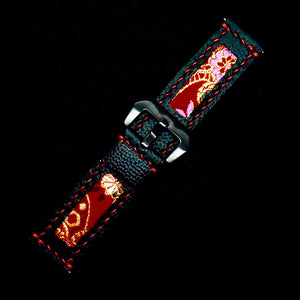 47Ronin#206 Black calf leather (24mm, Red stitching)