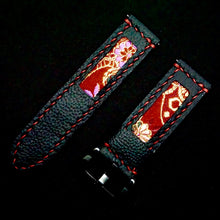 Load image into Gallery viewer, 47Ronin#206 Black calf leather (24mm, Red stitching)