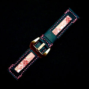 47Ronin#207 Black calf leather (22mm, Pink stitching)