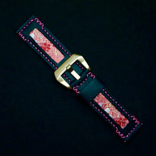 Load image into Gallery viewer, 47Ronin#207 Black calf leather (22mm, Pink stitching)