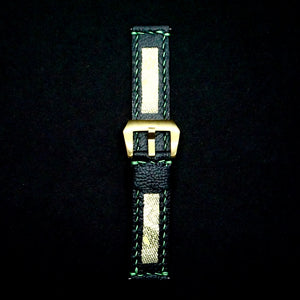 47Ronin#213 Black calf leather (22mm, Green stitching)