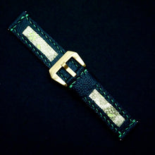 Load image into Gallery viewer, 47Ronin#213 Black calf leather (22mm, Green stitching)