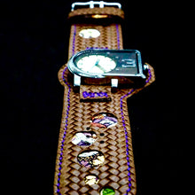 Load image into Gallery viewer, 47Ronin#220 Brown embossed calf leather (Customised sizes, Purple stitching)