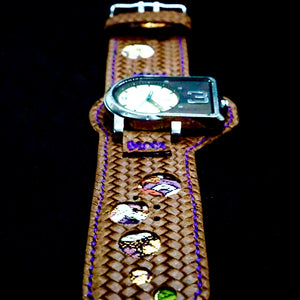 47Ronin#220 Brown embossed calf leather (Customised sizes, Purple stitching)