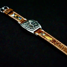 Load image into Gallery viewer, 47Ronin#223 Brown croc embossed calf leather (22mm, White stitching)