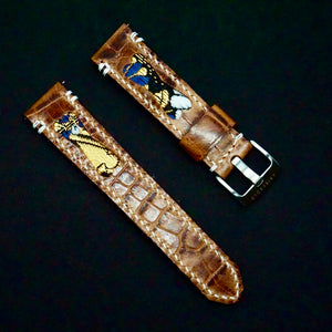47Ronin#223 Brown croc embossed calf leather (22mm, White stitching)