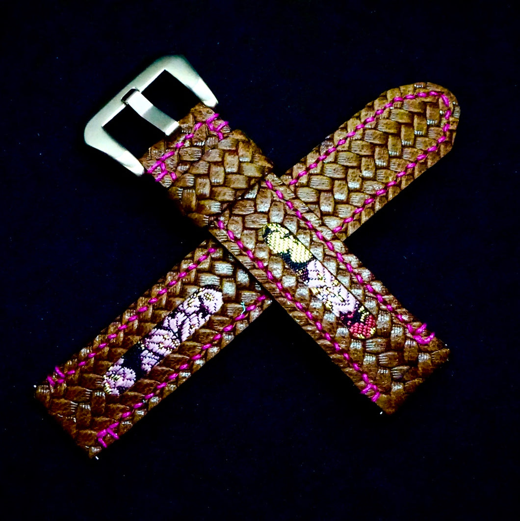 47Ronin#226 Brown embossed calf leather (20mm, Pink stitching)