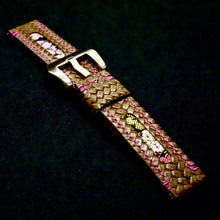 Load image into Gallery viewer, 47Ronin#226 Brown embossed calf leather (20mm, Pink stitching)