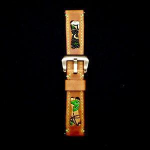 47Ronin#228 Orange brown calf leather (22mm, Lime green stitching)