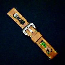 Load image into Gallery viewer, 47Ronin#228 Orange brown calf leather (22mm, Lime green stitching)
