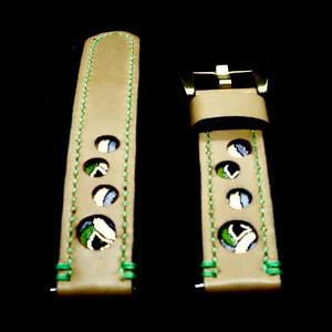 47Ronin#229 Desert brown calf leather (20mm, Green stitching)