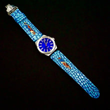 Load image into Gallery viewer, 47Ronin#273 Sky blue lizard embossed calf leather (24mm, Navy blue stitching)
