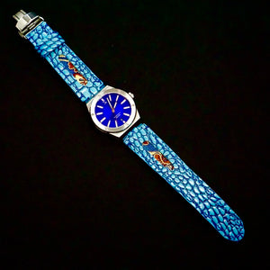 47Ronin#273 Sky blue lizard embossed calf leather (24mm, Navy blue stitching)
