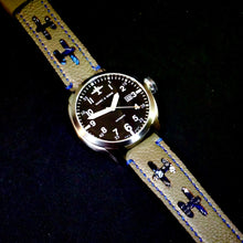 Load image into Gallery viewer, 47Ronin#243 Rhino grey calf leather (22mm, Navy blue stitching)