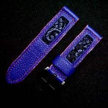 Load image into Gallery viewer, 47Ronin#260 Purple calf leather (24mm, Pink stitching)