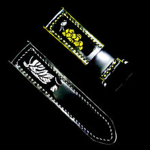 Load image into Gallery viewer, 47Ronin#262 Black calf leather (24mm, White & Yellow stitching)