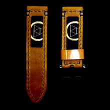 Load image into Gallery viewer, 47Ronin#263 Orange brown calf leather (24mm, Navy blue stitching)