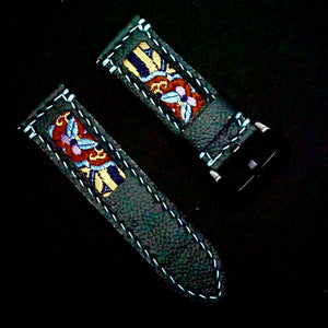 47Ronin#265 Black calf leather (24mm, Sky blue stitching)