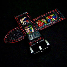 Load image into Gallery viewer, 47Ronin#266 Black calf leather (24mm, Red stitching)