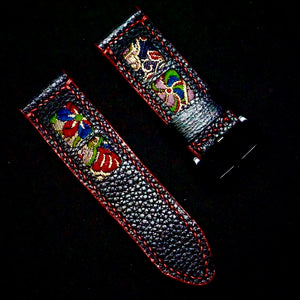 47Ronin#266 Black calf leather (24mm, Red stitching)
