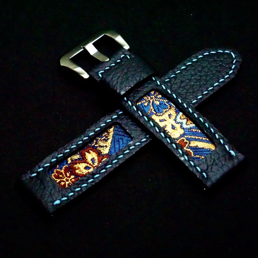 47Ronin#235 Black calf leather (22mm, Sky blue stitching)