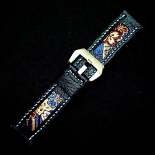 Load image into Gallery viewer, 47Ronin#235 Black calf leather (22mm, Sky blue stitching)