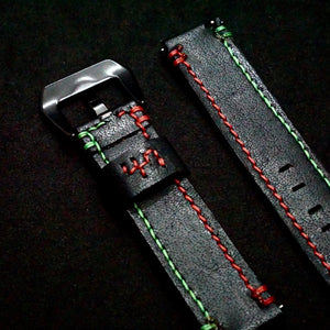 47Ronin#246 Black calf leather (20mm, Red & Green stitching)