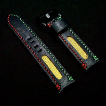 Load image into Gallery viewer, 47Ronin#246 Black calf leather (20mm, Red & Green stitching)