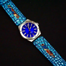 Load image into Gallery viewer, 47Ronin#247 Sky blue lizard embossed calf leather (22mm, Navy blue stitching)