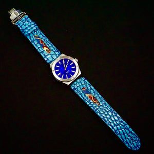 47Ronin#247 Sky blue lizard embossed calf leather (22mm, Navy blue stitching)