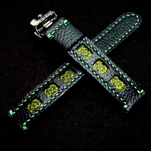 47Ronin#248 Black calf leather (18mm, Green stitching)