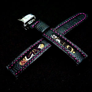 47Ronin#249 Black calf leather (18mm, Pink stitching)