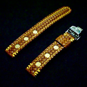 47Ronin#250 Brown embossed calf leather (18mm, Yellow stitching)