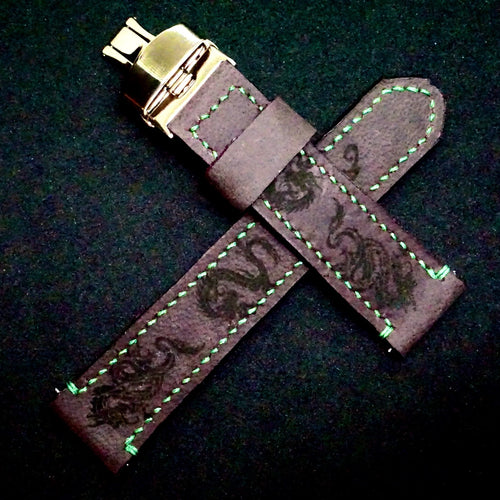 47Ronin#251 Regal purple calf leather (22mm, Green stitching)