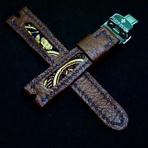 47Ronin#259 Chocolate brown calf leather (18mm, Navy blue stitching)