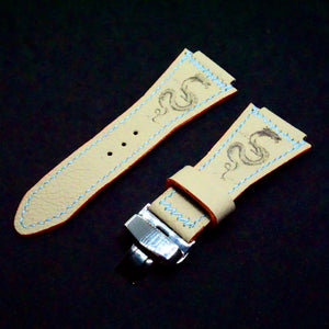 47Ronin#274 Rhino grey calf leather (34mm wide, 24mm lug, Orange stitching)