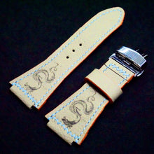Load image into Gallery viewer, 47Ronin#274 Rhino grey calf leather (34mm wide, 24mm lug, Orange stitching)