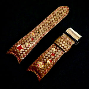 47Ronin#276 Brown embossed calf leather (34mm, Red stitching)