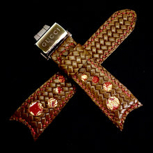 Load image into Gallery viewer, 47Ronin#276 Brown embossed calf leather (34mm, Red stitching)