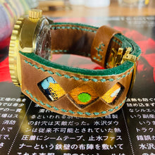 Load image into Gallery viewer, 47Ronin#279 Mocha brown calf leather (22mm, Dark green stitching)