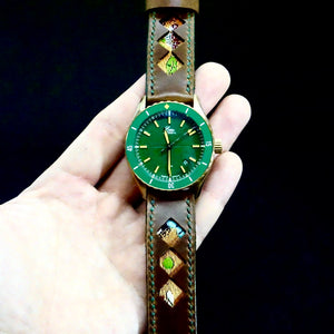 47Ronin#279 Mocha brown calf leather (22mm, Dark green stitching)