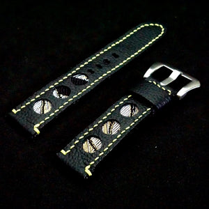 47Ronin#285 Black calf leather (20mm, Yellow stitching)