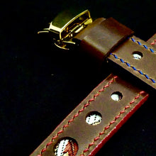 Load image into Gallery viewer, 47Ronin#280 Mocha brown calf leather (20mm, Red & Blue stitching)