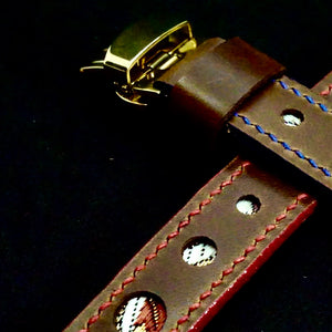 47Ronin#280 Mocha brown calf leather (20mm, Red & Blue stitching)