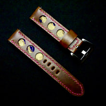 Load image into Gallery viewer, 47Ronin#290 Mocha brown calf leather (20mm, Pink stitching)