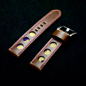 47Ronin#290 Mocha brown calf leather (20mm, Pink stitching)